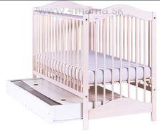 Detská postieľka DREWEX Jahoda 2018 so šuflíkom - Transparentná biela
