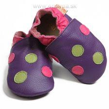 Topánky Liliputi fialové bodkované