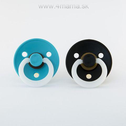 BIBS cumlíky z prírodného kaučuku NOČNÉ 2ks (Turquoise & Black) - veľkosť 2