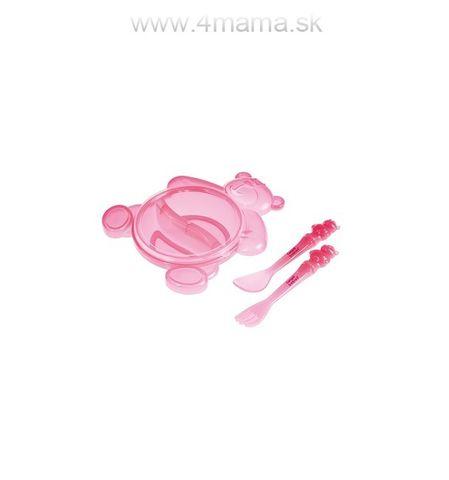 Miska plastová protišmyková delená, tvar macko + príbor 140ml 6m+ CANPOL